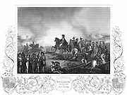 Arthur Wellesley, Duke of Wellington (1769-1852) with his staff at the Battle of Waterloo 18 June 1815. Engraving