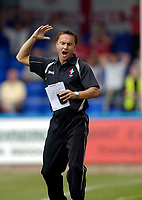 Photo: Jed Wee.<br />Hartlepool United v Swindon Town. Coca Cola League 2.<br />05/08/2006.<br /><br />Swindon manager Dennis Wise rues a missed opportunity.
