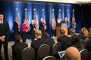 December 1st 2008 - Chicago, IL - Press Conference with newly elected President Barack Obama at the Hilton Hotel in downtown Chicago...Hillary Rodham Clinton approaches the lecturn after Obama announced his security team with Vice President-elect Joe Biden.  Hillary Rodham Clinton was introduced as secretary of state, retired Marine Gen. James Jones as White House national security adviser, Eric Holder as attorney general and Arizona Governor, Janet Napolitano as secretary of homeland security, and United Nations Ambassador Susan Rice. Robert Gates will remain as the defense secretary...Photo Credit: Heather A. Lindquist/Sipa..