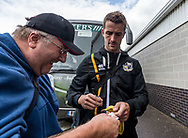 Danny Pugh of Port Vale signs autographs for a fan prior to the Sky Bet League 2 match at  Checkatrade.com Stadium, Crawley<br /> Picture by Liam McAvoy/Focus Images Ltd 07413 543156<br /> 05/08/2017