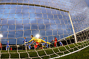 Leyton Orient's James Dayton's free kick beats everyone for the first goal during the The FA Cup match between Gillingham and Leyton Orient at the MEMS Priestfield Stadium, Gillingham, England on 4 November 2017. Photo by John Marsh.