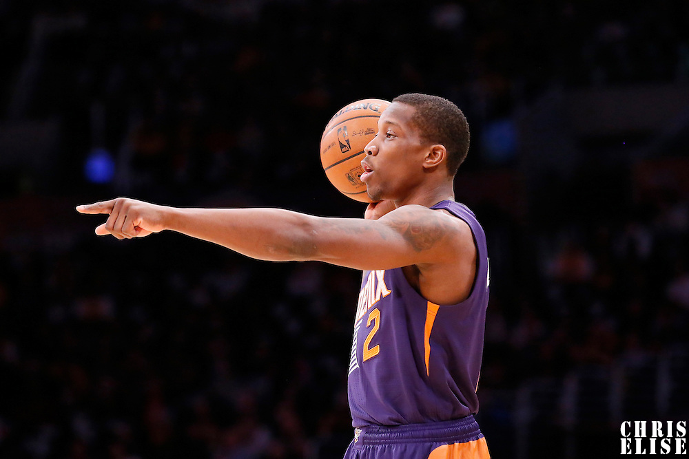10 December 2013: Phoenix Suns point guard Eric Bledsoe (2) sets the offense during the Phoenix Suns 114-108 victory over the Los Angeles Lakers at the Staples Center, Los Angeles, California, USA.