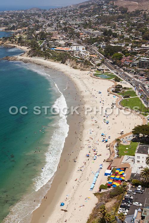 Vertical Aerial Stock Photo of Laguna Beach Coastline Facing North