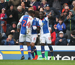 Marvin Emnes of Blackburn Rovers (R) celebrates scoring his sides first goal - Mandatory by-line: Jack Phillips/JMP - 04/03/2017 - FOOTBALL - Ewood Park - Blackburn, England - Blackburn Rovers v Wigan Athletic - Football League Championship