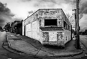An abandoned building sits at the crossroads of Patterson and Glenn Streets in Winston-Salem, North Carolina