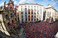 Osasuna's players and supporters during the celebration for promotion to La Liga BBVA on the city hall square Pamplona . 19,06,2016. (ALTERPHOTOS/Rodrigo Jimenez)