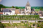 Gardens and town, Chateau de Villandry, Villandry, Loire Valley, France