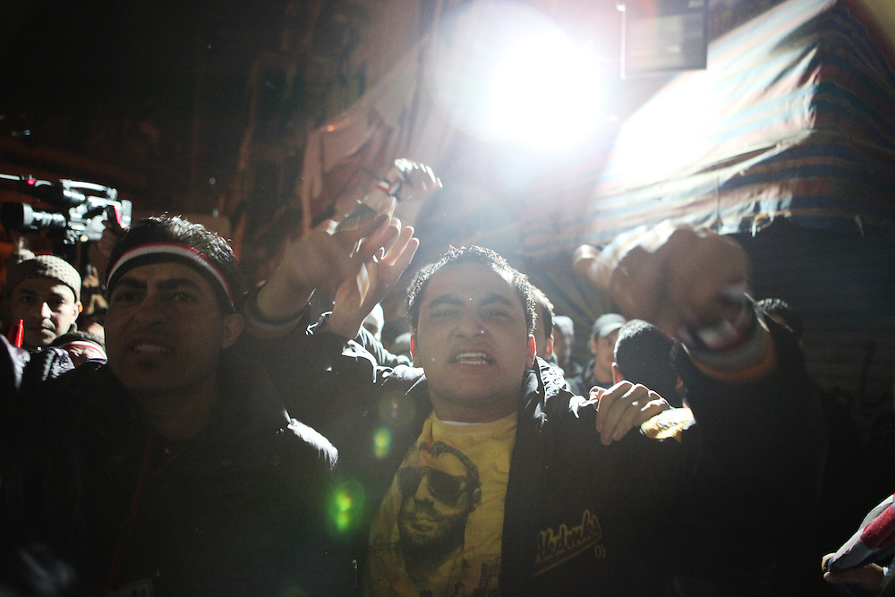 Pro-democracy protesters shout angrily after Mubarak refused to step down in his third speech since protests began calling for his ouster.