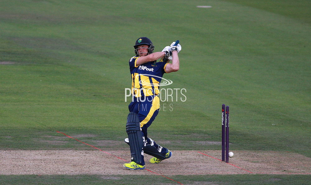 Graham Wagg is bowled for 8 by Tymal Mills during the NatWest T20 Blast South Group match between Sussex County Cricket Club and Glamorgan County Cricket Club at the BrightonandHoveJobs.com County Ground, Hove, United Kingdom on 10 July 2015. Photo by Bennett Dean.