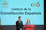 King Felipe VI of Spain, Crown Princess Leonor attends the reading of the Spanish Constitution in occasion of the 40th anniversary of its approval by the Congress at the Cervantes Institute on October 31, 2018 in Madrid, Spain