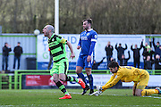 Forest Green Rovers Liam Noble(15) scores a goal 2-0 and celebrates during the Vanarama National League match between Forest Green Rovers and Macclesfield Town at the New Lawn, Forest Green, United Kingdom on 4 March 2017. Photo by Shane Healey.