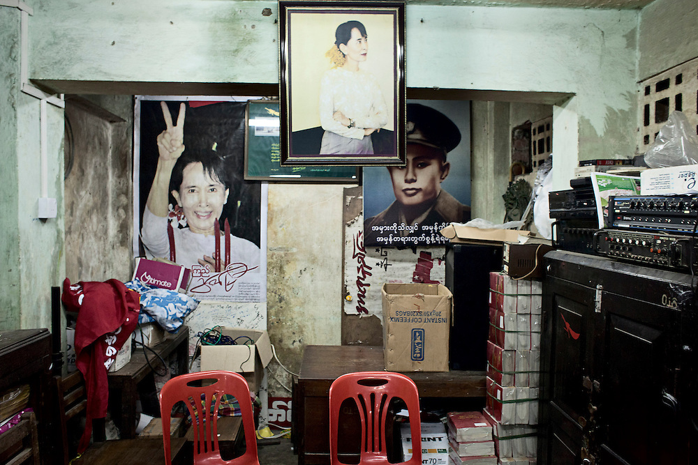 Framed pictures of General Aung San and Aung San Suu Kyi at the NLD headquarters. Yangon, Myanmar. 2012