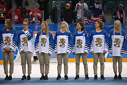 February 22, 2018 - Gangneung, South Korea - The Bronze medal winning Finland women's hockey team lines up for the medal ceremony at Gangneung Hockey Centre during the 2018 Pyeongchang Winter Olympic Games.  (Credit Image: © Jon Gaede via ZUMA Wire)