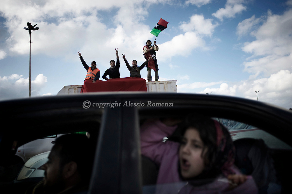 LIBYA, BENGHAZI. Celebrations in the center of the city on February 26, 2011. ALESSIO ROMENZI