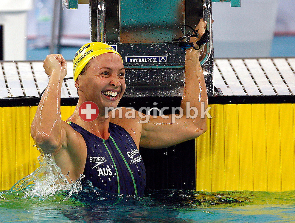 Brooke HANSON of Australia celebrates after winning the gold medal in the women's 100m Individual Medley (IM) final during day three of the 8th FINA World Swimming Championships (25m) held at Qi Zhong Stadium April 7th, 2006 in Shanghai, China. (Photo by Patrick B. Kraemer / MAGICPBK)