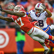Kansas City Chiefs wide receiver Chris Conley (17) couldn't catch a pass in the end zone in the third quarter, defended by Buffalo Bills cornerback Ronald Darby (28) on Sunday, November 29, 2015 at Arrowhead Stadium in Kansas City, Mo. The Chiefs won, 30-22.