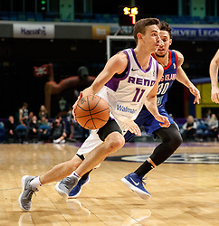 November 19, 2017 - Reno, Nevada, U.S - Reno Bighorns Guard DAVID STOCKTON (11) drives against Long Island Nets Guard JEREMY SENGLIN (30) during the NBA G-League Basketball game between the Reno Bighorns and the Long Island Nets at the Reno Events Center in Reno, Nevada. (Credit Image: © Jeff Mulvihill via ZUMA Wire)