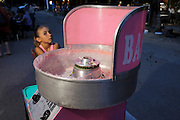 cotton candy machine with child waiting