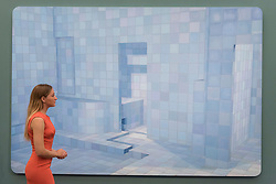 "© Licensed to London News Pictures. 08/09/2017. London, UK. A staff member views ""Blue Sauna"", 2003, by Adriana Varejão (Est. GBP400-600k), at a preview of 'Shake It Up', a collection of contemporary artworks from the personal collection of celebrity photographer Mario Testino. Proceeds from the upcoming auction of the collection at Sotheby's in London will benefit Museo Mate in Lima, Peru.  Photo credit : Stephen Chung/LNP"