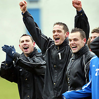 St Johnstone Training...19.03.04<br />Paul Bernard abnd John Robertson having fun during a competition during training before tommorrow's crunch game v Clyde.<br />see story by Gordon Bannerman Tel: 01738 553978 or 07729 865788<br />Picture by Graeme Hart.<br />Copyright Perthshire Picture Agency<br />Tel: 01738 623350  Mobile: 07990 594431