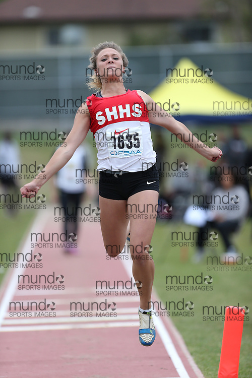 Hannah Kelsey Smith of Sacred Heart HS - Stittsville competes in the junior girls long jump at the 2013 OFSAA Track and Field Championship in Oshawa Ontario, Thursday,  June 6, 2013.<br /> Mundo Sport Images / Sean Burges