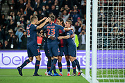 Edinson Roberto Paulo Cavani Gomez (El Matador) (El Botija) (Florestan) (PSG) scored a goal and celebrated it with Marco Verratti (PSG), Julian Draxler (PSG), 27p, Thomas Meunier (PSG) during the French Championship Ligue 1 football match between Paris Saint-Germain and AS Saint-Etienne on September 14, 2018 at Parc des Princes stadium in Paris, France - Photo Stephane Allaman / ProSportsImages / DPPI