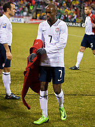 United States midfielder DaMarcus Beasley (7) prepares for the start of the Mexico game.  The United States men's soccer team defeated the Mexican national team 2-0 in CONCACAF final group qualifying for the 2010 World Cup at Columbus Crew Stadium in Columbus, Ohio on February 11, 2009.