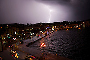 Lightning strikes over the port of Mytilene, Lesvos.