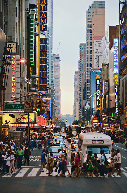 Times Square neighborhood, view down 42nd Street at 7th Avenue, New York