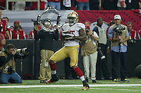 20 January 2013: Tight end (85) Vernon Davis of the San Francisco 49ers catches a touchdown against the Atlanta Falcons during the first half of the 49ers 28-24 victory over the Falcons in the NFC Championship Game at the Georgia Dome in Atlanta, GA.