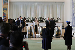 March 29, 2019 - New York, NY, USA - United Nations, New York, USA, March 29, 2019 - Angelina Jolie, Co-founder of the Preventing Sexual Violence in Conflict Initiative (PSVI) and Special Envoy of the United Nations High Commissioner for Refugees (UNHCR) meet  Lieutenant Commander Marcia Andrade Braga, Brazilian naval officer serving with the United Nations Multidimensional Integrated Stabilization Mission in the Central African Republic (MINUSCA) and the UN Military Gender Advocate of the Year Award recipient today at the UN Headquarters in New York before her speech at the General Assembly..Photo: Luiz Rampelotto/EuropaNewswire (Credit Image: © Luiz Rampelotto/ZUMA Wire)