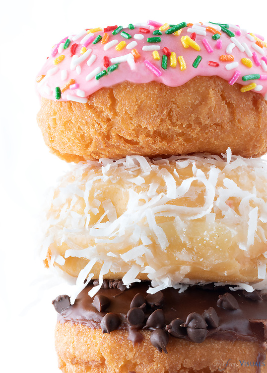 Top to bottom<br /> <br /> <br /> Cake donut with icing and sprinkles - Donut World - 0.95<br /> Coconut - Granny's Donuts &amp; Bakery - 0.85<br /> Cake donut with Chocolate icing and Chocolate chips - The Salty Bagel &amp; Donut Co - 1.40