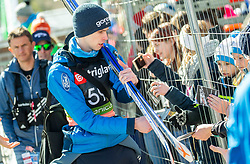 Anze Semenic (SLO) with fans during the Trial Round of the Ski Flying Hill Individual Competition at Day 1 of FIS Ski Jumping World Cup Final 2019, on March 21, 2019 in Planica, Slovenia. Photo by Vid Ponikvar / Sportida