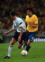 Photo: Tony Oudot.<br /> England v Brazil. International Friendly. 01/06/2007.<br /> Kaka of Brazil goes past Nicky Shorey of England