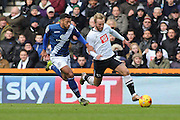 Derby County forward Johnny Russell heads for goal whilst under pressure during the Sky Bet Championship match between Derby County and Birmingham City at the iPro Stadium, Derby, England on 16 January 2016. Photo by Aaron Lupton.