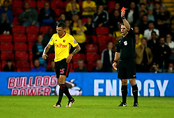 Etienne Capoue of Watford is shown a red card and sent off by referee Tim Robinson - Mandatory by-line: Robbie Stephenson/JMP - 22/08/2017 - FOOTBALL - Vicarage Road - Watford, England - Watford v Bristol City - Carabao Cup