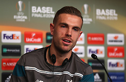 BASEL, SWITZERLAND - Tuesday, May 17, 2016: Liverpool's captain Jordan Henderson during a press conference ahead of the UEFA Europa League Final against Sevilla FC at St. Jakob-Park. (Pic by UEFA/Pool/Propaganda)