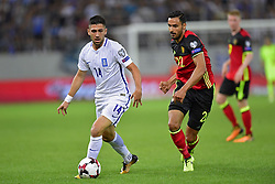 September 3, 2017 - Grece - ATHENS, GREECE - SEPTEMBER 3 : Tasos Bakasetas  of Greece is challenged by Nacer Chadli midfielder of Belgium during the World Cup Qualifier Group H match between Greece and Belgium at the Georgios Karaiskakis Stadium on September 03, 2017 in Athens, Greece, 3/09/2017 (Credit Image: © Panoramic via ZUMA Press)