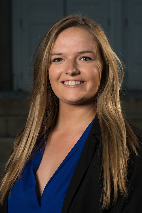 Isabella Owen poses for a portrait in front of Ohio University's Memorial Auditorium as part of the College of Business's Emerging Leaders program on September 21, 2016.