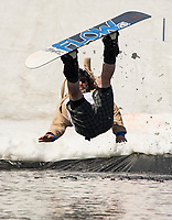 """Christopher Cane had no choice but to """"go with the flow"""" after hitting the jump during Gunstock's B.Y.O.D.C. event held on Sunday afternoon.  (Karen Bobotas/for the Laconia Daily Sun)"""