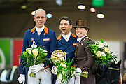 Prijsuitreiking Hans Peter Minderhoud - Tommie Visser - Inna Logutenkova<br /> World Dressage Masters - CDI Lier 2016<br /> © DigiShots