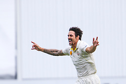 © Licensed to London News Pictures. 27/12/2013. Mitchell Johnson celebrates after getting a wicket  during Day 2 of the Ashes Boxing Day Test Match between Australia Vs England at the MCG on 27 December, 2013 in Melbourne, Australia. Photo credit : Asanka Brendon Ratnayake/LNP