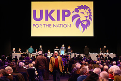 © Licensed to London News Pictures. 17/02/2018. Birmingham, UK. Ukip is holding an EGM today at the International Convention Centre in Birmingham to decide weather the party members will either back Henry Bolton as the party leader or endorse the No Confidence vote of the National Executive Committee. Photo credit: Andrew McCaren/LNP