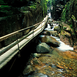 The Flume gorge in Franconia Notch State Park.  New Hampshire's White Mountains.
