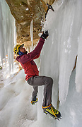 MUNISING, MICHIGAN - FEBRUARY 16: Thaddeus VanDenBerg from Utah does some ice climb bouldering, climbing low without ropes, on some ice curtains during the Michigan Ice Fest at Pictured Rocks National Lakeshore Thursday, February 14, 2017 in Munising, Michigan. The festival runs through Sunday. (Photo by Bryan Mitchell/Special to Detroit News)
