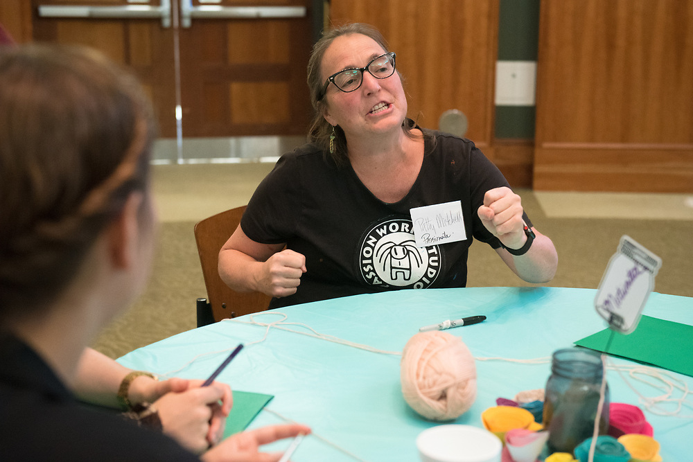 Patty Mitchell participates in an activity prior to meeting her mentee during the Women's Mentoring Meet and Greet event on Sept. 4, 2018 in Walter Rotunda. Photo by Hannah Ruhoff