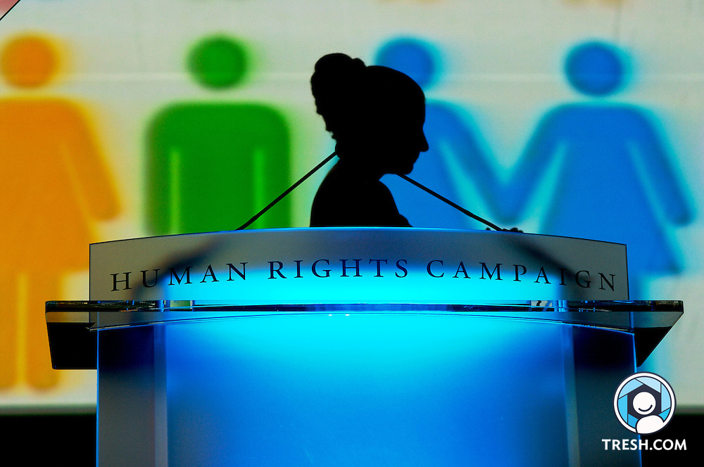 A silhouette during the sponsor vignette at the Tenth Annual HRC National Dinner