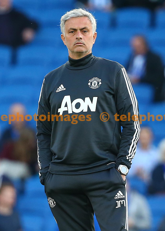Manchester United's manager Jose Mourinho looks on before  the Premier League match between Brighton and Hove Albion and Manchester United at the American Express Community Stadium in Brighton and Hove. 04 May 2018