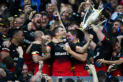 Richard Wigglesworth of Saracens celebrates the win - Mandatory byline: Patrick Khachfe/JMP - 07966 386802 - 14/05/2016 - RUGBY UNION - Grand Stade de Lyon - Lyon, France - Saracens v Racing 92 - European Rugby Champions Cup Final.