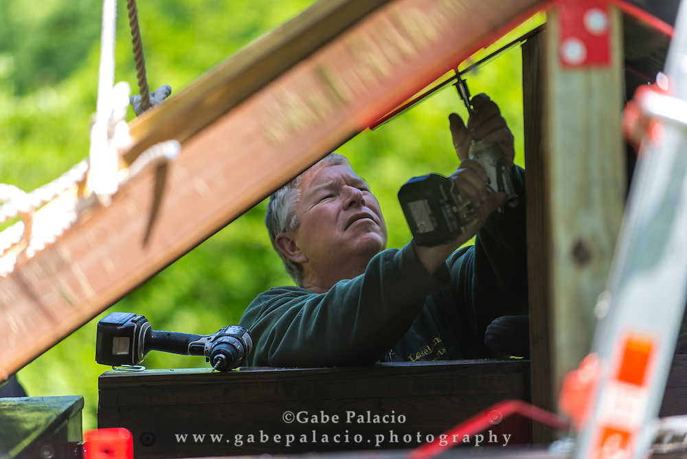 Trimpin installs The Pianohouse for The Garden of Sonic Delights at  Caramoor in Katonah New York on May 29, 2014. <br /> (photo by Gabe Palacio)